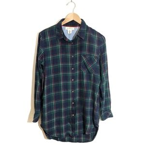 H&M Green & Red Plaid Tunic button down shirt